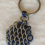 Dragonscale Silver and Blue Mini Key Fob