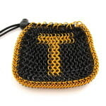 Chainmaille Drawstring Pouch (front view with Monogram) Burnt Orange and Black